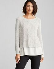 $238 Eileen Fisher Moon Bateau Jewel Neck Cable Knit Sweater Sprayed Cotton PL