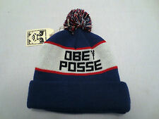 AUTHENTIC OBEY POSSE SONIC POM POM BEANIE CAP KNIT WINTER HAT BLUE CREAM