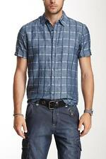 Point Zero Textured Linen Blend Check Print Shirt Size Large NWT $85