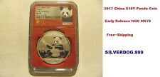 2017 CHINA SILVER 10Y PANDA COIN NGC MS70 EARLY RELEASES~LTD~EDIT~RED~CORE