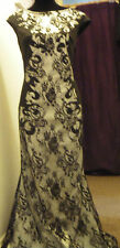 BNWT LADIES SIZE 14 BLACK/SILVER LACE XMAS/WEDDING/EVENING/CRUISE/BALL DRESS