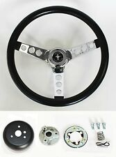 "1965-1969 Mustang Black Steering Wheel Grant 13 1/2"" with chrome spokes"