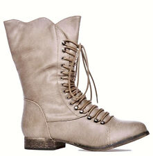 Vegan Leather ANKLE BOOTS Victorian Style LACE UP Zipper Tan Flats Low Heel 7 37