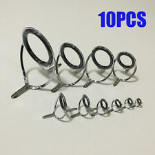 10Pcs Repair Kit Fishing Rod Guides Tips Line Rings for Making Building Repair