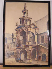"""Art Déco 1930 """"la Halle aux Toiles de ROUEN"""" Aquarelle & pastel Gras Signé"""