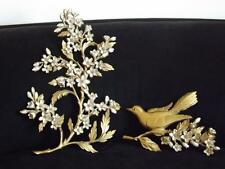 Set 2 Syroco Gold Bird & Flowers Wall Plaques Hangings 1967 EXC
