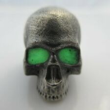 Realistic Skull w/Glow-in-the Dark Paracord/Leather Bead Pewter Marco Magallona