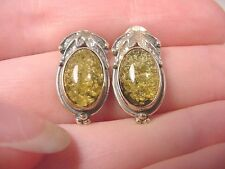(pe28-i) AMBER GREEN .925 Sterling SILVER OVAL stud EARRINGS CRYSTAL Poland