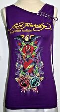 Women's Ed Hardy Fitted Sleeveless Graphic Tee Tank Top Small Made USA EUC