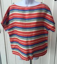 womens Lauren Ralph Lauren southwest italian linen striped shirt xl $159 nwt