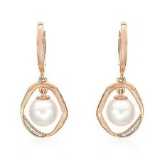 VIDA Earrings With Genuine Diamonds and 7.5mm Freshwater Pearl 14K Rose Gold