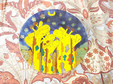 "Original Fused Art Glass Plate by Rodolfo Carrillo, Giraffes, Mexico, 8.5"" D"