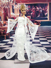 Eaki White Lace Coat Outfit Gown Evening Dress Silkstone Barbie Fashion Royalty