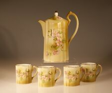 Nippon Handpainted Pink Cherry Blossom Chocolate Pot and Cups