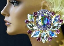 Glorious Crystal, AB, Lavender & Rose Earrings Pageant DragQueen Costume Stage