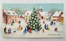 Vintage Card People Family Christmas Tree House Church Glitter Snow City Town