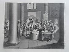Librería de antiguo grabado de un bautismo de acuerdo con la Iglesia griega en Rusia c1850