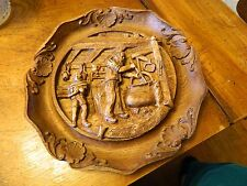 Vintage Suisse SWITZERLAND Carved 3D Relief Plate man boy home in kitchen RESIN