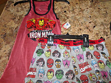 NEW Marvel Iron Man Womens Tank Top and Short Pajama PJ Set- size M- NWT