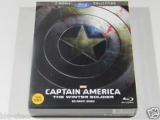 Captain America 1&2 Blu-ray Movie Collection [Korea] Full Slip 2 Disc Set Mint