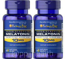 TWO(2X) Puritan's Pride Melatonin 10 mg total 120 Natural Sleep Improve Quality