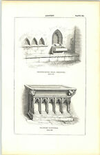 1850 Engraving Lavatory Chapterhouse Selby Salisbury Cathedral