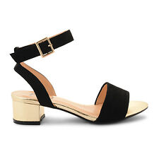Sandali neri in finta pelle scamosciata con polsino alla caviglia e tacco oro UK 3 js11 60