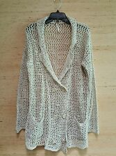 Free People Long Cardigan Sweater Crochet Knit Oversized Natural Linen Size M