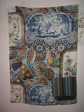 """Lee Jofa Mulberry Home """"Mulberry China Linen"""" fabric remnant color multi"""