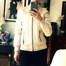 Dolce Gabbana Leather Ivory Jacket Coat Size 40 S