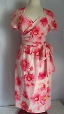 Vintage ESCADA Silk Pink Floral Womens Wrap Dress EU38 US8