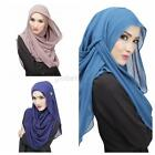 Womens Muslim Sheer Chiffon Long Hijab Maxi Islamic Scarf Headwear Anti-Dust G32