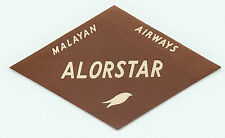 SINGAPORE MALAYAN AIRWAYS TO ALORSTAR VINTAGE AIRLINE LUGGAGE LABEL