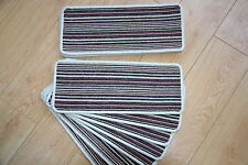 14 Open Plan Carpet Stair Treads Fancy Stripe Purple Large Striped Stair Pads