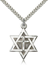 Sterling Silver Jewish Star Of David Catholic Cross Necklace For Men Chain 24""