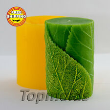 Cylinder with leaves 3D mold soap mold silicone molds candle mold Free Shipping