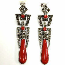 VICTORIAN STYLE BLACK RED CORAL MARCASITE EARRINGS 925 STERLING SILVER