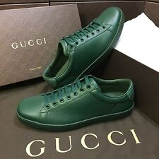 NEW Gucci Green Leather Low Top Lace Up Sneaker With Python Trim Men's US Sz 11