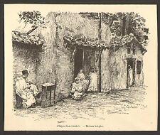 PARIS EXPOSITION UNIVERSELLE WORLD FAIR 1889 ALGERIE MAISONS KABYLES GRAVURE