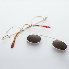 Small Round Clip on Vintage Sunglass & RX Optical Frame Gold-Ansel