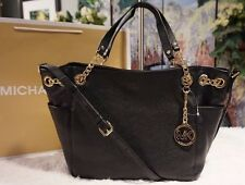 NWT Michael Kors JET SET Chain Gather Shoulder Tote Bag Leather Color BLACK $298
