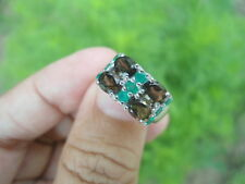 Natural SMOKY QUARTZ & Green AVENTURINE 925 STERLING SILVER RING Size 5.75