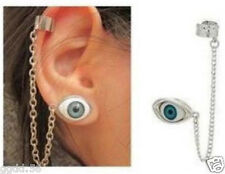 1Pcs Punk Silver Metal Blue Eyeball Tassels Cuff Ear Clip Stud Earring Jf1922