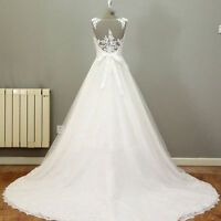 Lace Applique Sheer Back Sexy Wedding Dress Bridal Gown White/Ivory&Plus Size