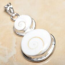 "Handmade Shiva Eye Shell Gemstone Pure 925 Sterling Silver Pendant 2"" #P12979"