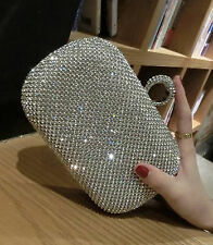 Crystal Diamante Clutch Evening Bag Purse Wedding Prom Party Silver or Black
