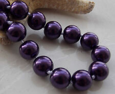 AAA 10MM Deep Purple South Sea Shell Pearl Round Beads Necklace 18'' T-40817