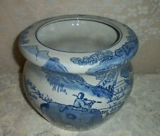 "Modern 7"" 1/2 Blue And White Ceramic Planter With Oxen Chinese Farming Scene"