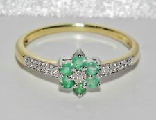 Beautiful 9ct Yellow Gold & Silver Emerald & Diamond Cluster Ring size P