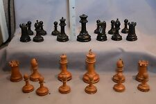 ANTIQUE STAUNTON PARTIAL CHESS SET - RED CROWN MARK - WEIGHTED BASES. 87mm King
